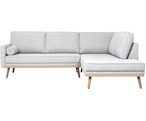 Ecksofa Saint (3-Sitzer), Bezug: Polyester 50.000 Scheuert, Gestell: Massives Kiefernholz, Spa, Hellgrau, 243 x 70 cm