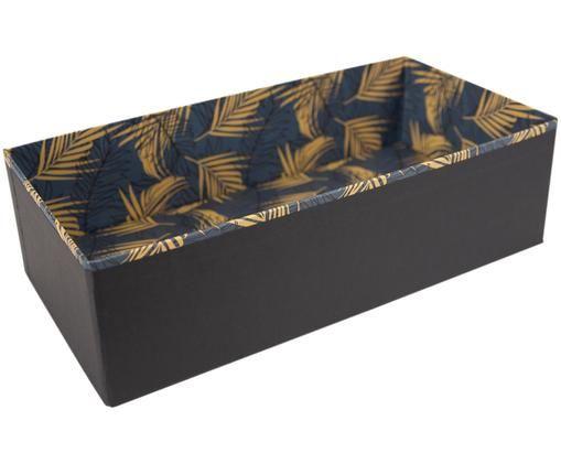 Organizador Drawer, Cartón laminado macizo, Dorado, gris azulado, An 36 x Al 10 cm