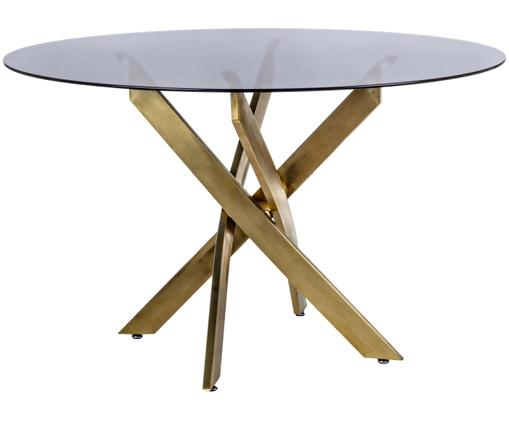 Table avec plateau en verre George, Noir, couleur laiton