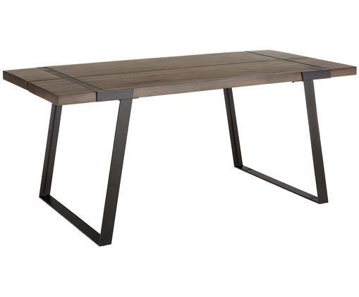 Stół do jadalni z drewna Luis, Blat: drewno mangowe, lakierowa, Stelaż: metal malowany proszkowo, Blat: drewno mangowe, matowe, lakierowane Stelaż: czarny, matowy, S 180 x G 90 cm
