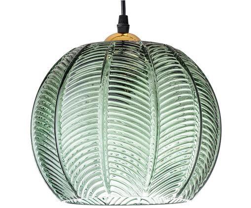 Lampada a sospensione Luisa, Paralume: vetro, Baldacchino: metallo verniciato, Verde, Ø 22 x Alt. 20 cm
