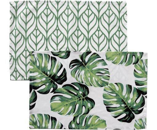Set di 2 tovagliette Tropica, Cotone, Verde, bianco, Larg. 30 x Lung. 45 cm