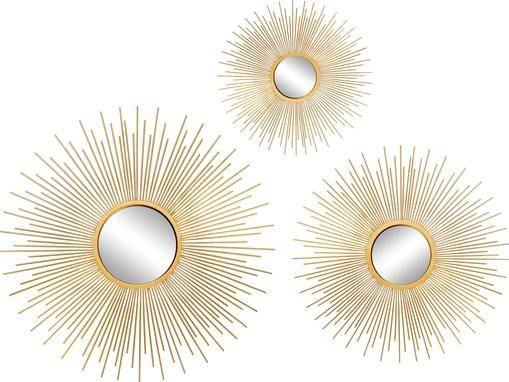 Sonnenspiegel-Set Sun mit Goldrahmen, 3-tlg