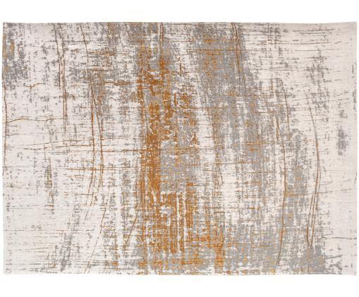 Vloerkleed Griff, Bovenzijde: 85%katoen, 15%hoogglanz, Weeftechniek: jacquard, Onderzijde: katoenmix, gecoat met lat, Bovenzijde: grijs, goudkleurig, gebroken wit, B 170 x L 240 cm (maat M)