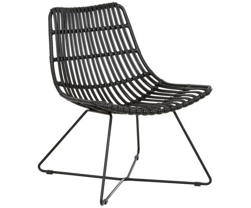 Krzesło ze splotu z tworzywa sztucznego Sola, Stelaż: metal malowany proszkowo, Czarny, S 64 x G 64 cm