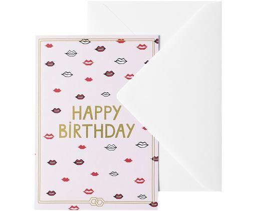 Grußkarte Happy Birthday, Papier, Rosa, Goldfarben, Rot, Schwarz, Weiß, 12 x 16 cm