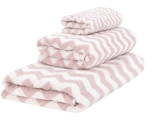 Set 3 asciugamani con motivo a zigzag Liv, Rosa, bianco crema, Diverse dimensioni