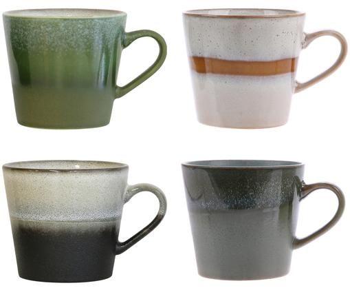 Set di tazze fatta a mano 70's, 4 pz., Verde, grigio, beige