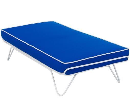 Daybed Croisette, Bekleding: polyester, Frame: gelakt metaal, Blauw, B 150 x D 70 cm