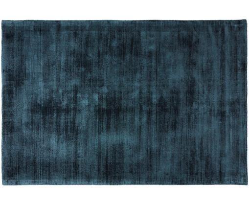 Tappeto in viscosa tessuto a mano Jane, Vello: 100% viscosa, Retro: 100% cotone, Petrolio, Larg. 200 x Lung. 300 cm