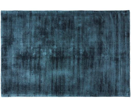 Handgewebter Viskoseteppich Jane, Flor: 100% Viskose, Petrol, B 200 x L 300 cm (Größe L)