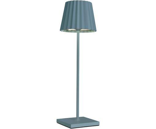 Mobiele outdoor LED tafellampTrellia, Gelakt aluminium, Blauw, Ø 15 x H 38 cm