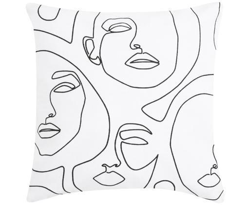 Poszewka na poduszkę Aria, Biały, czarny, S 40 x D 40 cm