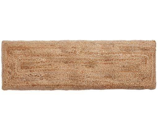 Handgewebte Jute-Bankauflage Ural, Vorderseite: Jute, Rückseite: Baumwolle, Beige, 40 x 120 cm