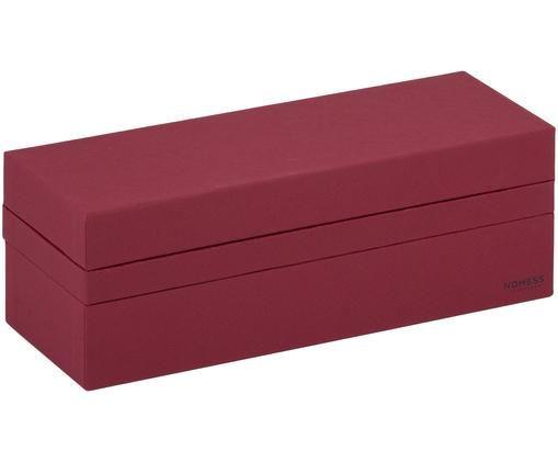 Set scatole custodia Tray Box, 3 pz., Cartone solido, laminato, Rosso scuro, L 24 x P 9 cm
