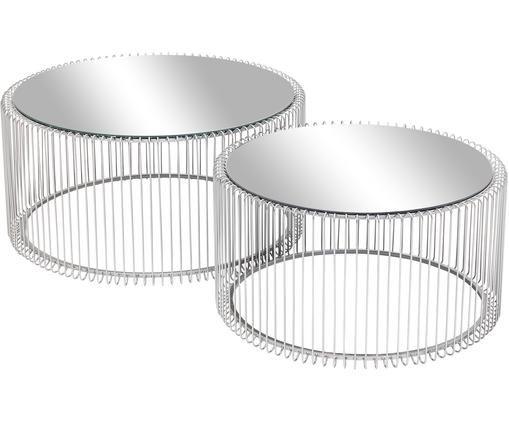 Metall-Couchtisch 2er-Set Wire mit Spiegelplatte, Tischplatte: Glas, verspiegelt, Gestell: Metall, pulverbeschichtet, Chromfarben, Sondergrößen
