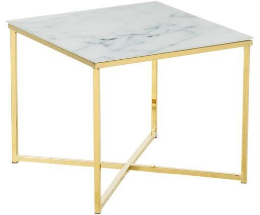 Tavolino con piano in vetro Antigua, Piano d'appoggio: vetro opaco stampato, Struttura: acciaio ottonato, Bianco, ottone, Larg. 50 x Alt. 42 cm