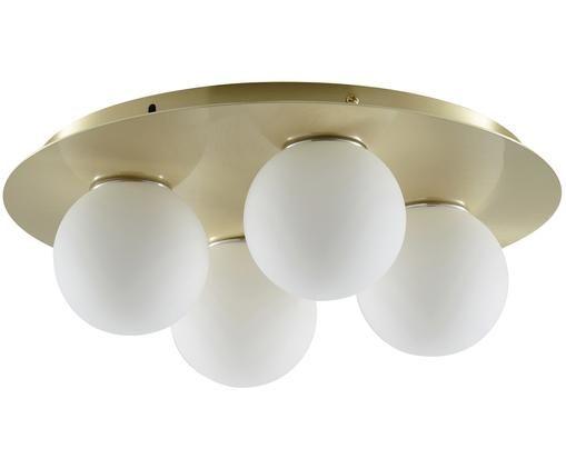 Deckenleuchte Hitch, Baldachin und Fassung: Messing, mattLampenschirme: Weiß, Ø 36 x H 12 cm