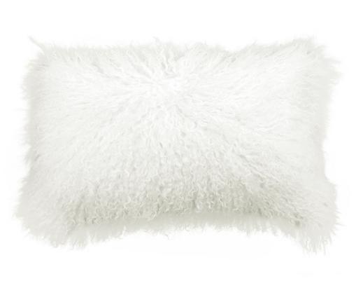 Federa arredo in pelliccia d'agnello a pelo lungo Ella, Retro: 100% poliestere, Bianco naturale, Larg. 30 x Lung. 50 cm