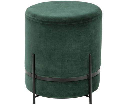 Pouf in velluto Haven, Rivestimento: velluto, Verde scuro, nero, Ø 38 x A 45 cm