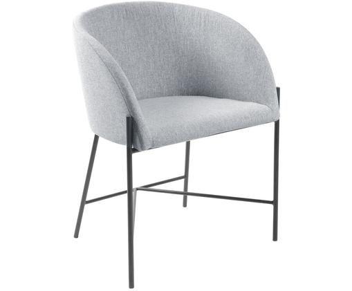 Sedia con braccioli Nelson, Rivestimento: poliestere 25.000 cicli d, Gambe: metallo verniciato, Grigio chiaro, Larg. 56 x Prof. 54 cm