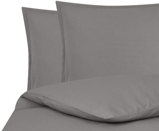 Gewaschene Leinen-Bettwäsche Breezy in Dunkelgrau, 52% Leinen, 48% Baumwolle Mit Stonewash-Effekt, Dunkelgrau, 240 x 220 cm