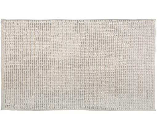 Tappetino da bagno con palline di tessuto Johanna, Bianco latteo