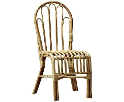 Krzesło z rattanu Boho, Beżowobrązowy