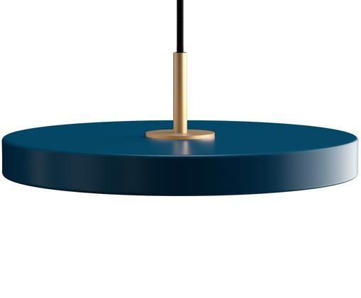 Design LED Pendelleuchte Asteria, Lampenschirm: Aluminium, lackiert, Petrolblau, Ø 31 x H 14 cm
