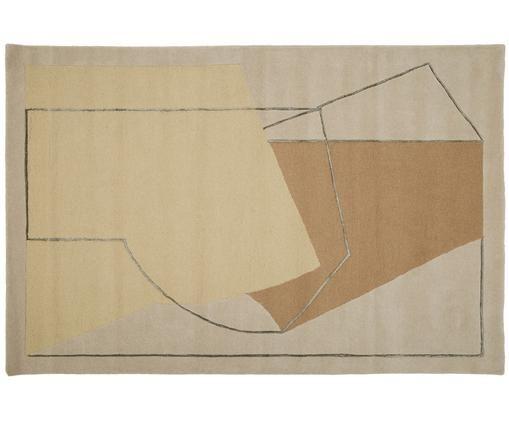 Alfombra artesanal de lana Furbo, Parte superior: 90%lana, 10%viscosa, Reverso: lana, Amarillo, beige, marrón, gris, An 200 x L 300 cm