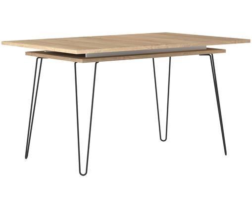 Tavolo da pranzo allungabile Aero, Gambe: metallo, verniciato, Legno di quercia, Larg. 134 a 174 x Prof. 90 cm