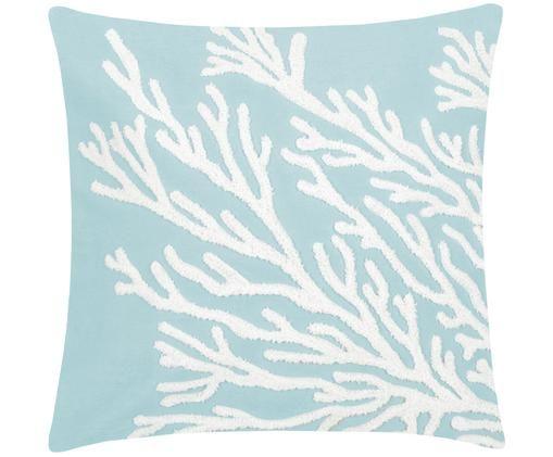 Kissenhülle Reef mit getuftetem Motiv, Baumwolle, Hellblau, Weiß, 40 x 40 cm