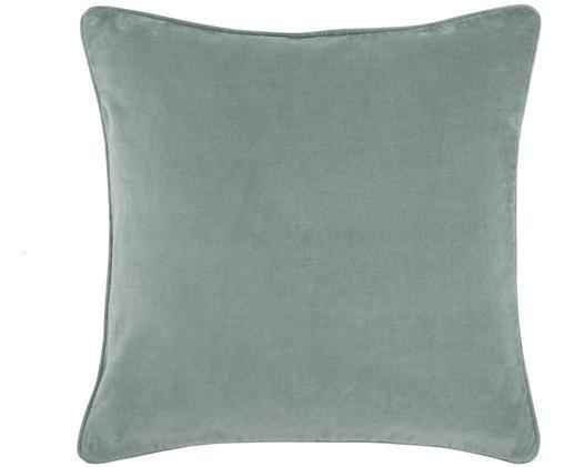 Federa arredo in velluto Dana, 100% velluto di cotone, Verde salvia, Larg. 40 x Lung. 40 cm