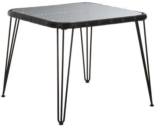 Stół do jadalni Sola, Blat: szkło, grubość, Stelaż: metal malowany proszkowo, Czarny, S 90 x G 90 cm