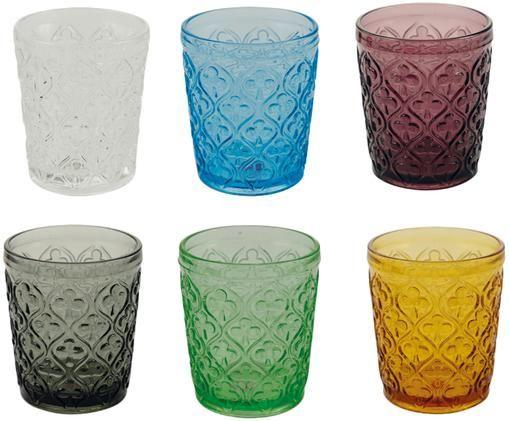 Vasos de colores con relive Marrakech, 6uds.