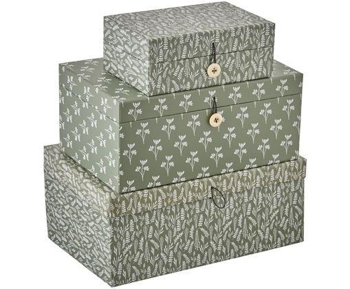Geschenkboxen-Set Rosella, 3-tlg., Grün, Weiß, Sondergrößen