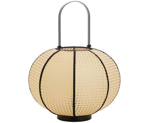 Lámpara de suelo Retro, Pantalla: beige, negro Base de la lámpara y asa: negro mate Cable: negro