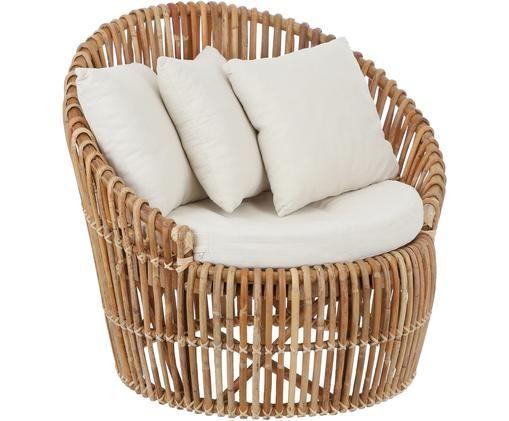 Rotan lounge fauteuil Minou, Frame: rotan, Bekleding: polyester, Bruin, B 100 x D 80 cm