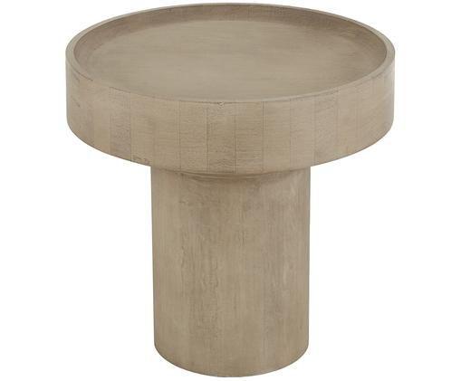 Tavolino rotondo in legno di mango  Benno, Legno di mango massiccio verniciato, cemento, Legno di mango, grigio lavato, Ø 50 x Alt. 50 cm