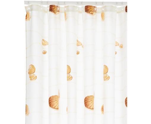 Duschvorhang Miami mit Muscheln, Polyester Wasserabweisend, nicht wasserdicht, Weiß, Beigetöne, 180 x 200 cm