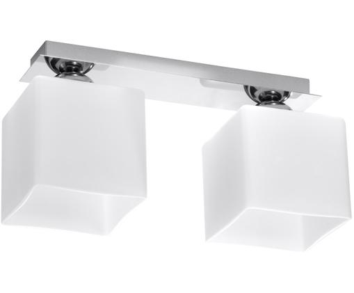 Deckenstrahler Square in Weiß, Baldachin: Stahl, verchromt, Lampenschirm: Glas, Weiß, 35 x 18 cm