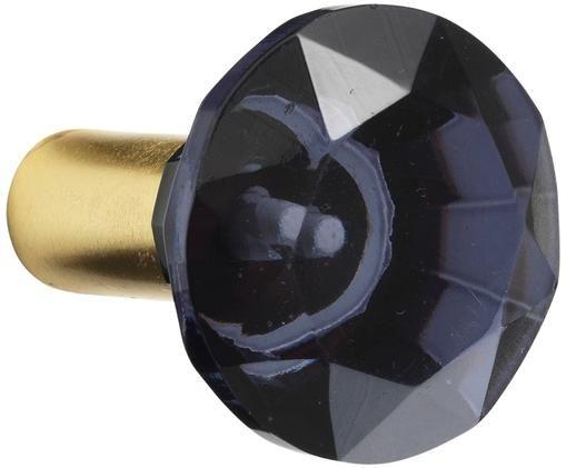 Gancio da parete Sofie Diamond, Fissaggio: ottone Fronte: blu, trasparente, Ø 5 x Prof. 3 cm