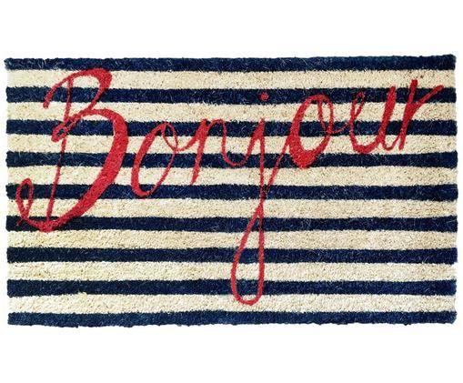 Fußmatte Bonjour, Oberseite: Kokosfaser, Unterseite: PVC, Blau, Weiß, Rot, 45 x 75 cm