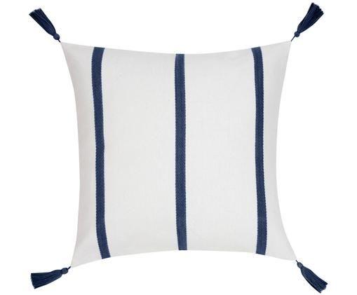 Gestreifte Kissenhülle Joe mit Quasten, Baumwolle, Cremeweiß, Navy, 50 x 50 cm