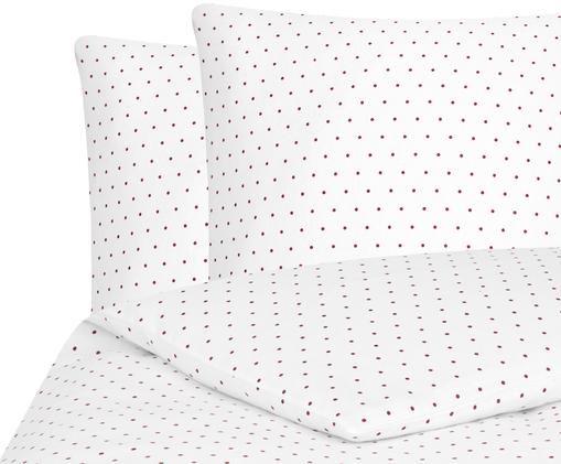 Flanell-Bettwäsche Betty, gepunktet, Webart: Flanell, Weiß, Rot, 240 x 220 cm