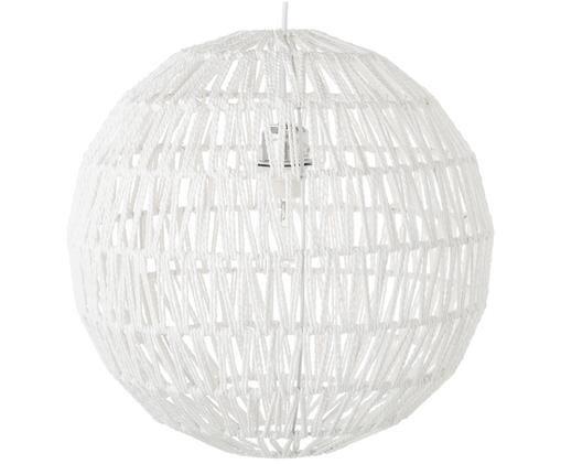Hanglamp Cable van stof, Metaal, textiel, Wit, Ø 40 x H 40 cm