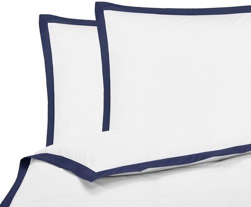 Perkal-Bettwäsche Joanna mit farblich abgesetztem Stehsaum, Weiß, Dunkelblau