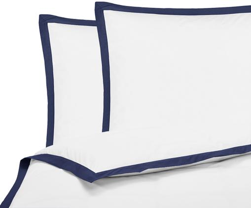 Perkal-Bettwäsche Joanna mit farblich abgesetztem Stehsaum, Webart: Perkal Fadendichte 200 TC, Weiß, Dunkelblau, 200 x 200 cm