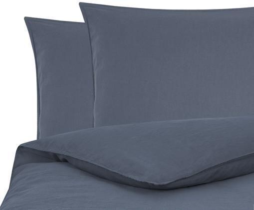 Gewaschene Leinen-Bettwäsche Carla, 52% Leinen, 48% Baumwolle Mit Stonewash-Effekt, Graublau, 240 x 220 cm