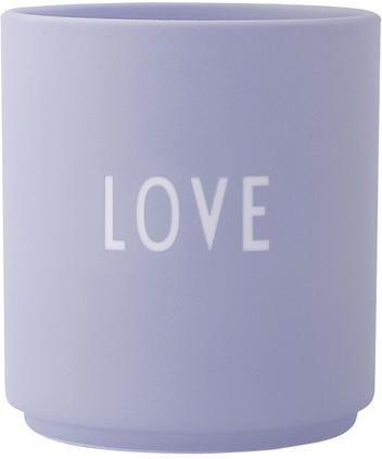 Design Becher Favourite LOVE in Lila mit Schriftzug